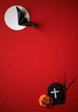 Halloween symbols origami  on a red background Royalty Free Stock Images