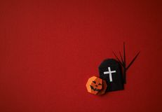Halloween symbols origami  on a red background Stock Photography