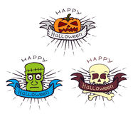 Halloween symbols of pumpkin head, zombie Royalty Free Stock Photography