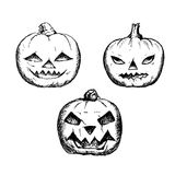 Halloween symbols pumpkin set. Hand-drawn decorative elements in . Black and white. Made by trace from sketch Stock Illustration