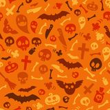 Halloween Symbols Seamless Pattern Orange Stock Photo
