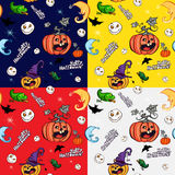 Halloween symbols in the Seamless pattern stock illustration