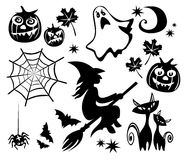 Halloween symbols set Stock Photos