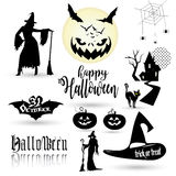Halloween symbols. Halloween set, drawn Halloween symbols pumpkin, broom, bat, spider webs, magic hat, castle, hunting tree, witch woman, 31 October calligraphy Stock Photos
