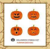 Halloween symbols set: 4 emotions pumpkin, flat. Royalty Free Stock Photo