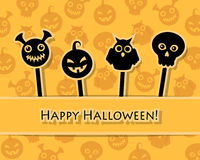 Halloween symbols on sticks Royalty Free Stock Images