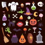Halloween Night creepy symbols icons vector collection illustration Royalty Free Stock Photos