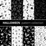 Halloween symbols vector pattern collection Stock Image