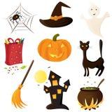 halloween symbolsset vektor illustrationer