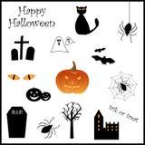 halloween symbolsset royaltyfri illustrationer