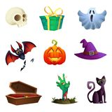 Halloween symbos collection. Cartoon style. Design of vector icons. Royalty Free Stock Images