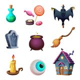 Halloween symbos collection. Design of vector icons. Cartoon style. Stock Image