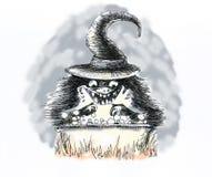 Halloween szalony czarnoksiężnik warzy magicznego napój fotografia royalty free