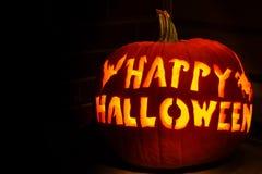 halloween szczęśliwej dźwigarki latarniowa o bania Obrazy Royalty Free