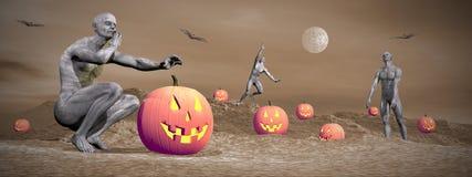Halloween-Szene - 3D übertragen Stockbilder