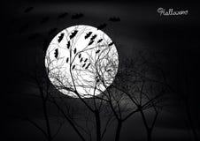 Halloween-Szene mit Bäumen, Mond und Hieben lizenzfreie abbildung