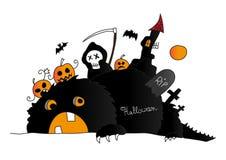 Halloween-Szene mit Monster, Tod und Kürbisen lizenzfreie abbildung