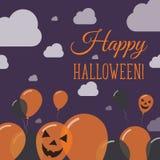 Halloween szybko się zwiększać płaskiego dna kartka z pozdrowieniami Zdjęcia Royalty Free