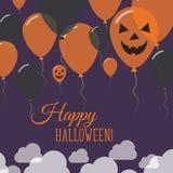 Halloween szybko się zwiększać płaskiego wierzchołka kartka z pozdrowieniami Obraz Royalty Free