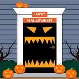 Halloween-Tür Willkommen zu Halloween Stockfotografie