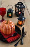 Halloween table setting. With candles Royalty Free Stock Images