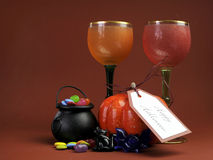 Halloween table setting decorations with goblets Stock Images