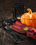 Halloween table setting Royalty Free Stock Photo