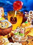 Halloween table with trick or treat. And drink Stock Image