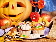 Halloween table with trick or treat Royalty Free Stock Photo