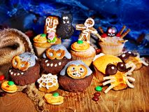 Halloween table with trick or treat. And cake Royalty Free Stock Image