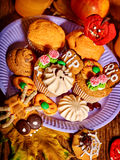 Halloween table with trick or treat Royalty Free Stock Image