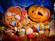 Halloween table with trick or treat Royalty Free Stock Photos