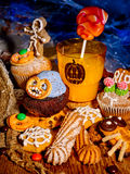 Halloween table with trick or treat Stock Photos