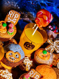 Halloween table with trick or treat Jack OLanten pumpkin. Royalty Free Stock Photo