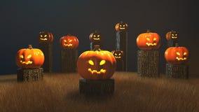 Halloween-Tag, 3D Wiedergabe, Kürbise, die auf dem Stumpf sitzen Lizenzfreies Stockfoto