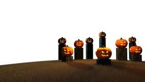 Halloween-Tag, 3D Wiedergabe, Kürbise, die auf dem Stumpf sitzen Lizenzfreie Stockfotos