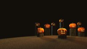Halloween-Tag, 3D Wiedergabe, Kürbise, die auf dem Stumpf sitzen Stockbild