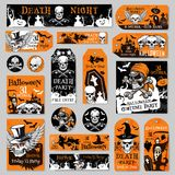 Halloween tag and label fot holiday party design. Halloween holiday tag and label set of night party celebration template. Skull, orange pumpkin lantern, bat and Stock Photography