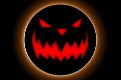 Halloween-Tag mit Kürbisteufel auf dem schwarzen Hintergrund Stockbild