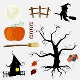 Halloween-Tagesflache Element-Designsammlung Vektor illustrati Lizenzfreies Stockfoto