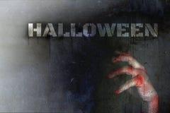 Halloween-Tageskonzept, Doppelbelichtung, Handquetschung blutig vom zo stockfotografie