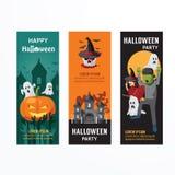 Halloween-Tagespartei-Fahnen-Schablonen-Design Lizenzfreie Stockfotografie
