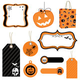Halloween tags. Frames and bag isolated on white Royalty Free Stock Photography
