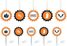 Halloween Tags. With text and motifs in white black and orange Royalty Free Stock Photo
