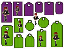 Halloween tags or labels collection with witch Royalty Free Stock Images