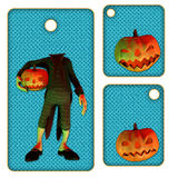 Halloween tags or labels with pumpkin Stock Images