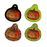 Halloween tags or labels with pumpkin Royalty Free Stock Photos
