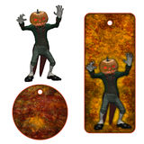 Halloween tags with pumpkin Stock Photo