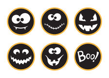 Halloween tags set. Set of round Halloween tags and labels with creepy faces and Boo! Lettering Royalty Free Stock Photography