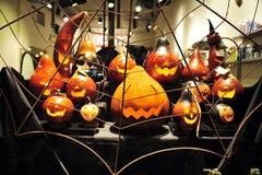 Halloween talló las calabazas Fotografía de archivo